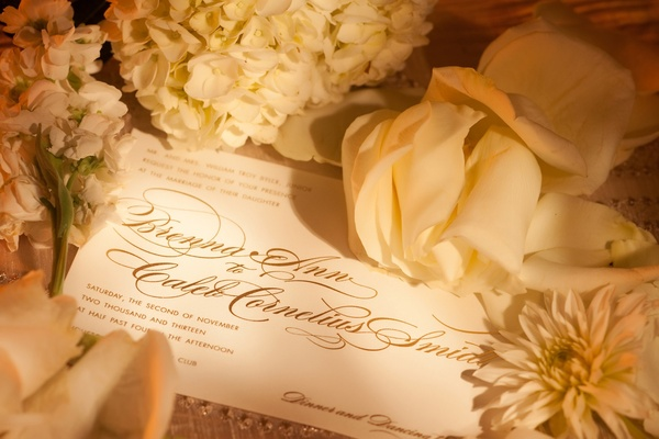 Ivory wedding invite with gold script surrounded by flowers