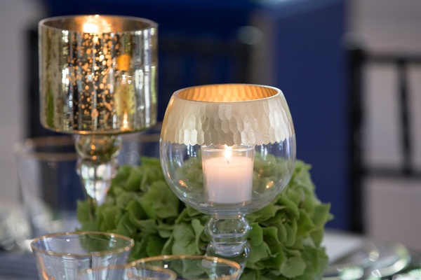 gold and green décor, blue and white wedding, southern-inspired wedding candle votives