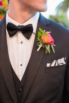 orange pink boutonniere spanish mexican colors wedding southern california unique bold