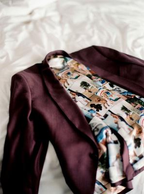 wedding attire for la dodgers baseball player kike hernandez burgundy tux photo collage liner inside