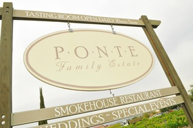 Ponte Family Estate winery signage in Temecula