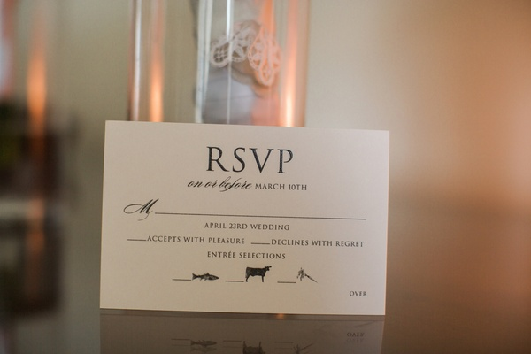 wedding rsvp card with meal choices marked by images