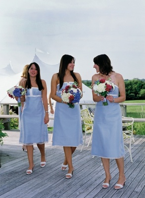 Light blue and white summer bridesmaid dresses