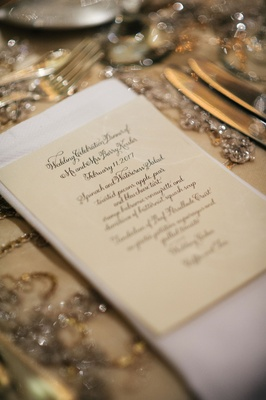 wedding menu spinach and watercress salad, and additional selections calligraphy menu card design