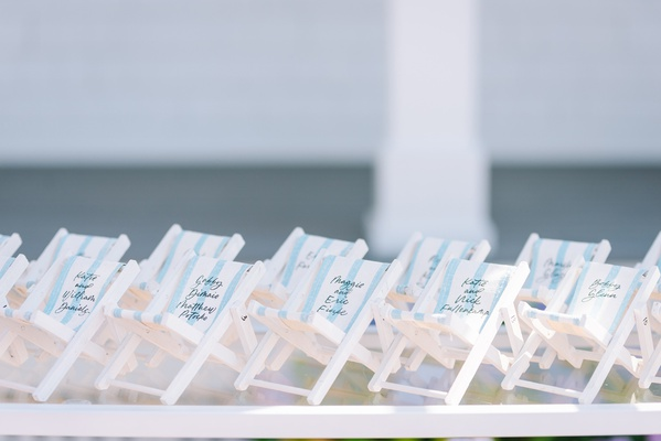 miniature beach chairs with blue and white stripes as escort cards