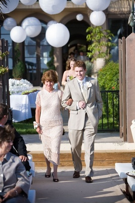 White lace mother of groom skirt outfit
