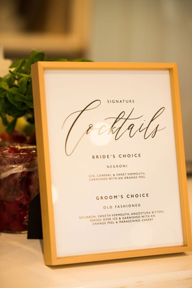 wedding reception signature cocktails menu negroni old fashioned bride groom choices