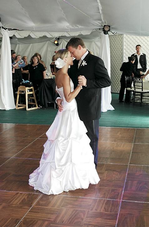 Bride and groom dancing on dance floor
