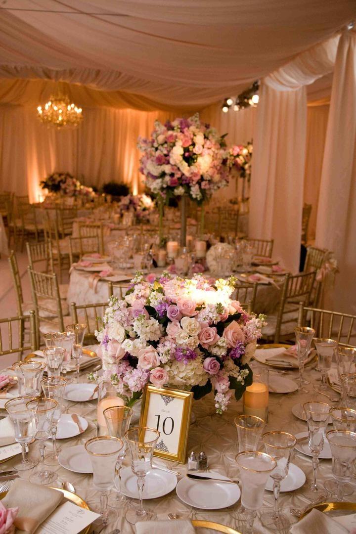 Reception Décor Photos - Gold-Framed Table Number - Inside Weddings