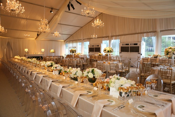 Ivory and champagne reception décor, southern-style reception