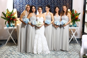 bride bridesmaids gray gowns grey blue bouquets dominican republic wedding girls bridal party