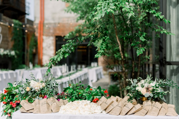 rose petals in paper bags for guests to toss at newlyweds