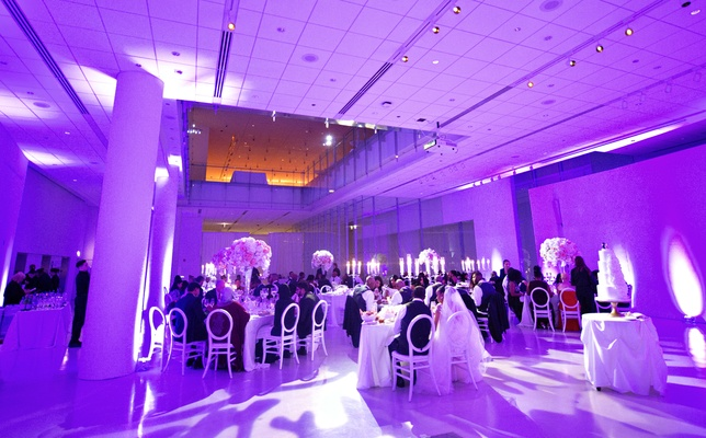 purple uplighting at wedding reception
