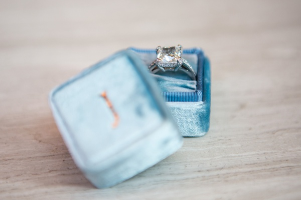 square engagement ring personalized blue box initial bride band wedding jewelry new york city