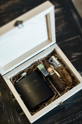 groomsmen gift ideas, wooden box with flask, cigar, and cigar cutter