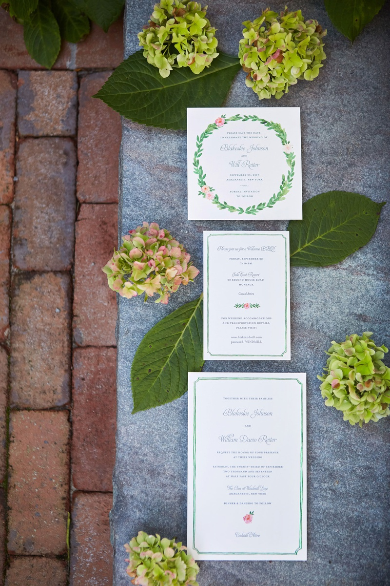 wedding invitation suite green border pink rose flower laurel wreath