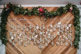 wedding reception wood chevron design pressed flower escort cards greenery calligraphy sign custom