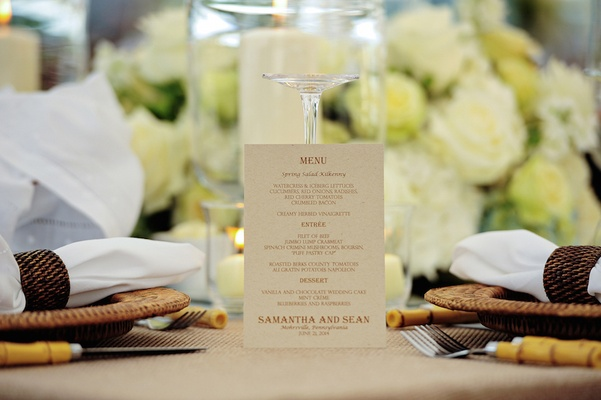 Wedding reception menu printed on taupe paper