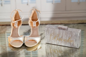 wedding accessories mother of pearl box clutch and gold name personalized badgley mischka peep toe
