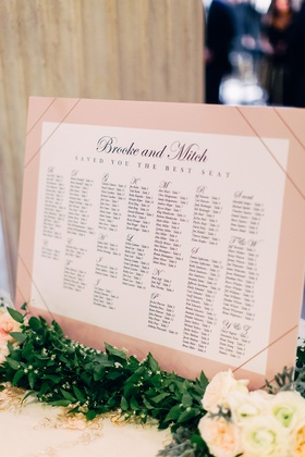 wedding seating chart blush chart decorated with greenery brooke and mitch saved you the best seat