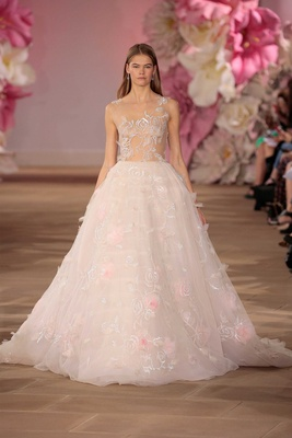 Ines Di Santo Couture Bridal Collection Spring Summer 2017 Light ball gown pink flower sheer bodice