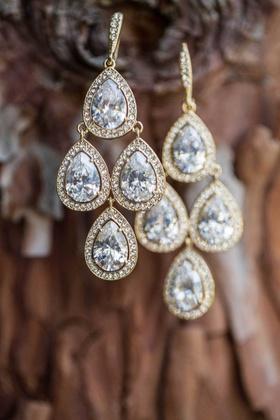 four-stone dangling earrings halos of small diamonds wedding earrings chandelier