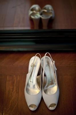 Vera Wang bridal heels with slingback strap and peep toe