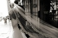 Black and white photo of bride walking away with long veil