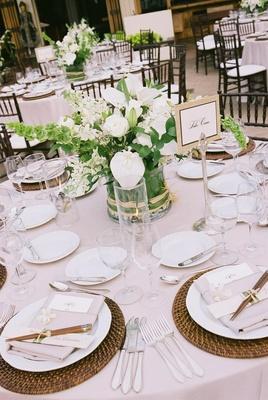 Hawaiian reception decor and place setting