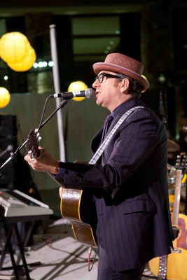 Musician Elvis Costello performs at Park City wedding