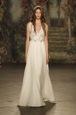"""A-line """"rosemarie"""" dress with draped skirt and beaded bodice by Jenny Packham"""