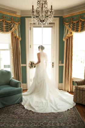 bride in doorway at the Chanler Newport RI wedding