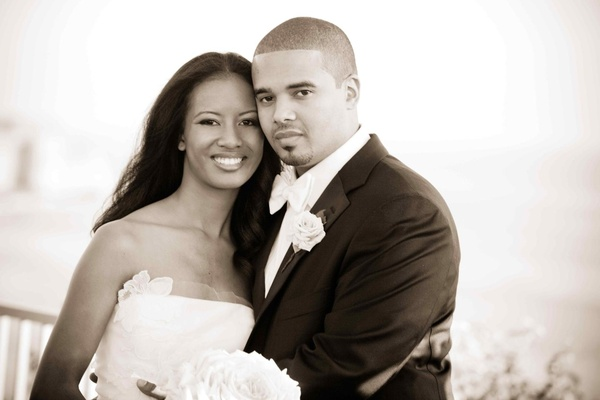 Black and white photo of African American bride and groom