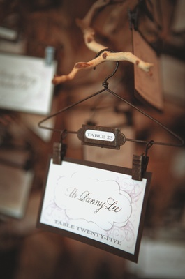 tiny clothes hanger holding place card