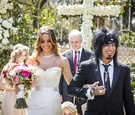 Courtney Bingham and Nikki Sixx after wedding ceremony