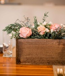wooden planter box arrangement glass votives rustic wedding portland oregon pink white greenery tea