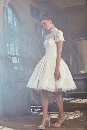 Sareh Nouri Spring 2019 collection short sleeve lace gown with illusion neckline and pleated skirt