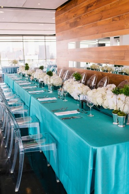 detriot lions quarterback matthew stafford rehearsal dinner tiffany blue linens ghost chair flowers