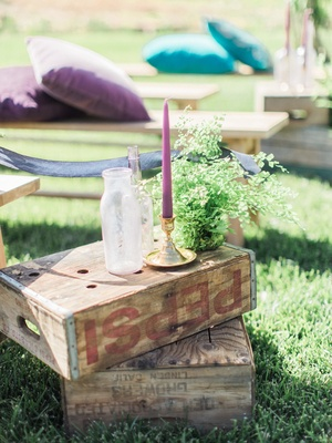 old wooden boxes vases bright candles fern california boho chic wedding styled shoot ceremony aisle