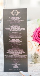 black pink and gold wedding menu, carving station, taco station, salad station, seafood station