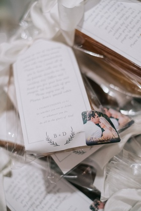 Wedding favor personalized note explaining why guests were receiving pound cake engagement photo