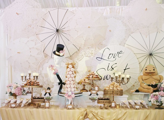 Wedding reception dessert bar with chic black and white theme with pink sweet treats