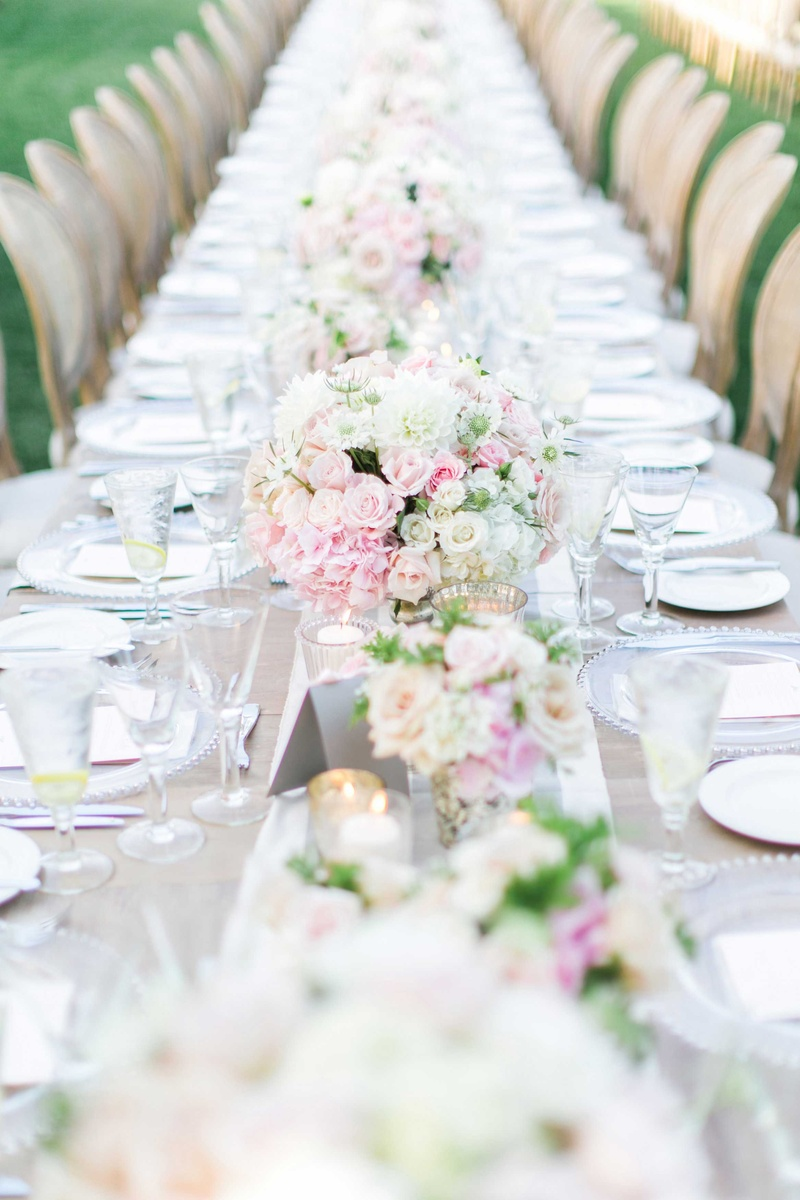 wedding destinations in new jersey%0A     Wedding reception long farm table with pink  white flowers and table  runner
