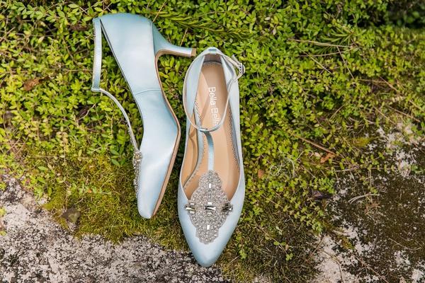 wedding shoes bella belle light blue heels t strap ankle strap jewel embellishments