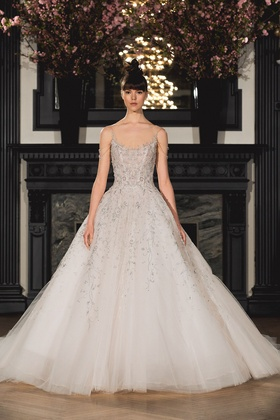 Ines Di Santo Spring 2019 collection sleeveless ball gown with ballerina neckline and dropped waist