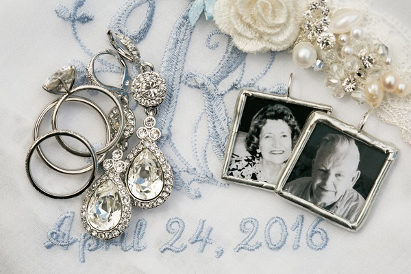 bridal jewelry, bouquet charms with late grandparents, blue embroidered handkerchief