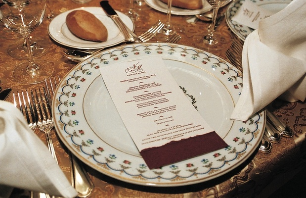 ... Red and white menu card on patterned plate ... & Persian-Chinese Wedding Celebration in New York City - Inside Weddings