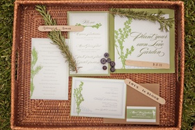 Shower stationery with rosemary and blueberries