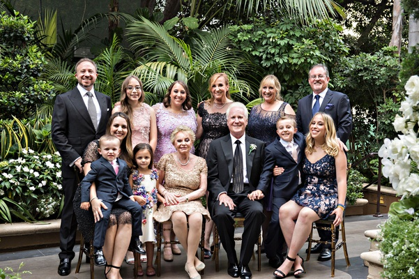 wedding anniversary party portrait couple with kids and grandchildren beverly hills