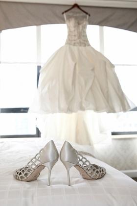 Bride's Sergio Rossi lattice pumps with crystals in silver